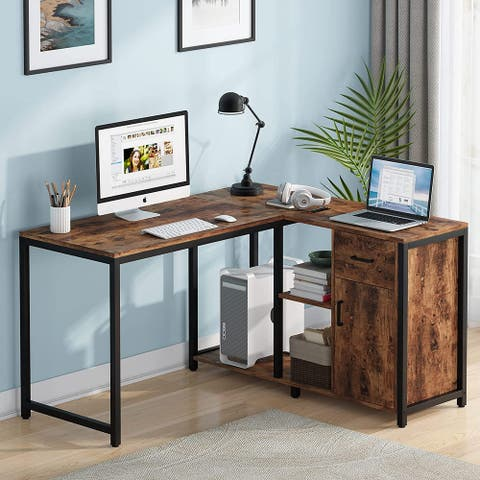 L Shaped Desk with Drawer Cabinet, 47 Inch Corner Desk with Storage Shelves CPU Stand