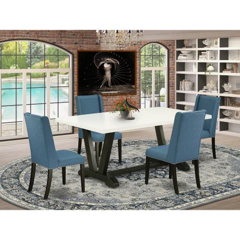 Dining Set Contains a Kitchen Table and Mineral Blue Finish Padded Parson Chairs (Pieces Option)
