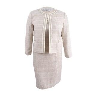 Tahari ASL Women's Boucle Dress Suit (10, Ivory White/Gold) - ivory white/gold - 10