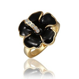 Gold Plated Onyx Classic Floral Ring