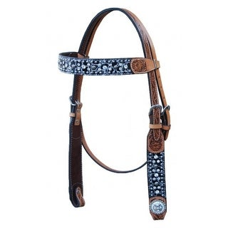 Bar H Equine Western Headstall Two Tone Brow Band Brown Turq