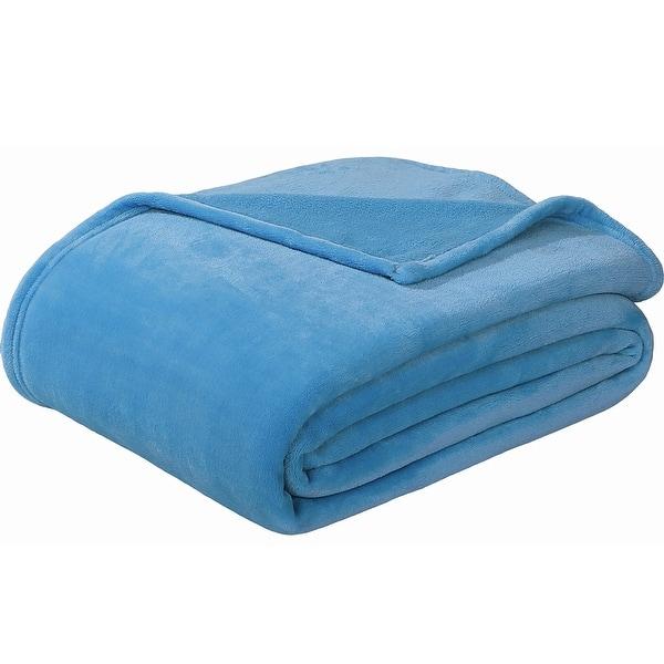 """Sedona House Flannel Fleece Blanket Queen Size 90/""""x90/"""" Navy"""
