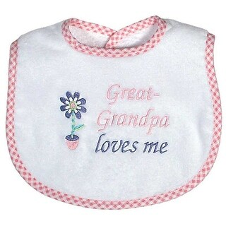 """Raindrops Baby Girls """"Great-Grandpa Loves Me"""" Embroidered Bib, Pink - One size"""
