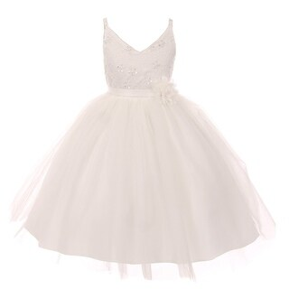 Rain Kids Girls Ivory Beaded Lace V-neck Special Occasion Dress
