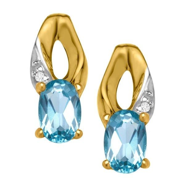 1 1/10 ct Natural Blue Topaz Earrings with Diamonds in 10K Gold