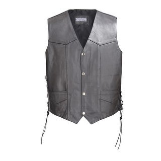 Men Classic Leather Motorcycle Biker Vest Embossed Eagle Black by Xtreemgear MBV109