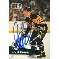 Scott Young Autographed Hockey Card Pittsburgh Penguins 1991 Pro