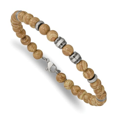 Chisel Stainless Steel Antiqued White Bronze Plate with Grain Stone with 1 Inch Extension Bracelet