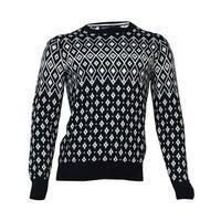Nautica Men's Patterned Crew Neck Sweater (L, True Black) - True Black - L
