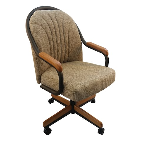 Caster Chair Company Bently Caster Arm Chair in Wheat Tweed Fabric