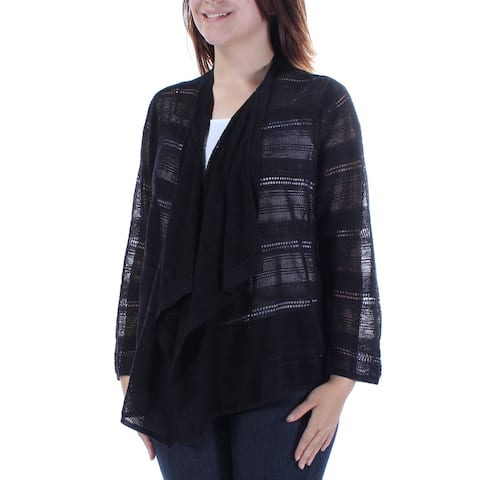 ALFANI Womens Black Mesh 3/4 Sleeve Open Handkerchief Sweater Size: S