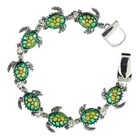 Sea Turtle Link Magnetic Clasp Bracelet - Green