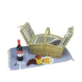 2-Person Hand Woven Warm Gray and Natural Willow Insulated Picnic Basket Set with Accessories