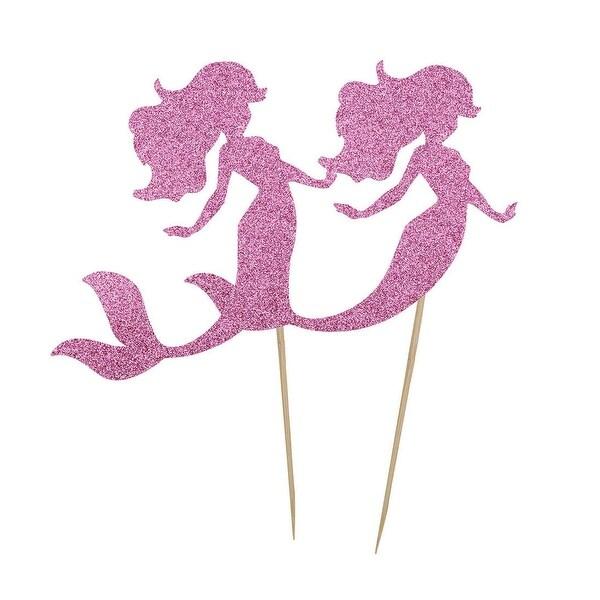 Wedding Party Cupcake Mermaid Shaped DIY Glittery Toothpick Pick Topper 2 Pcs