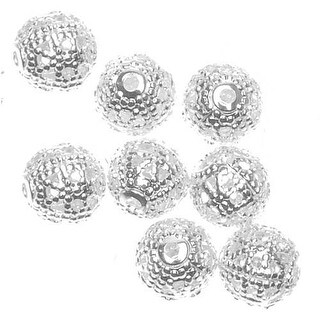Silver Plated Filigree 6mm Round Beads (100)