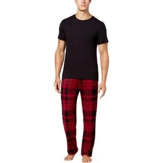 32 Degrees Cool Mens Lounge Pants Plaid Elastice Waist