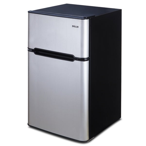 Della 3.2 Cubic Ft 2 Door Fridge And Freezer, Refrigerator, Stainless Steel
