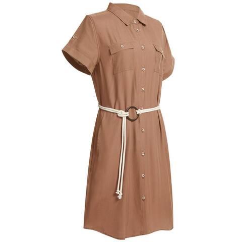 Women's Short Sleeve Midi Dress Belted Tencel Shirt Dress for Summer