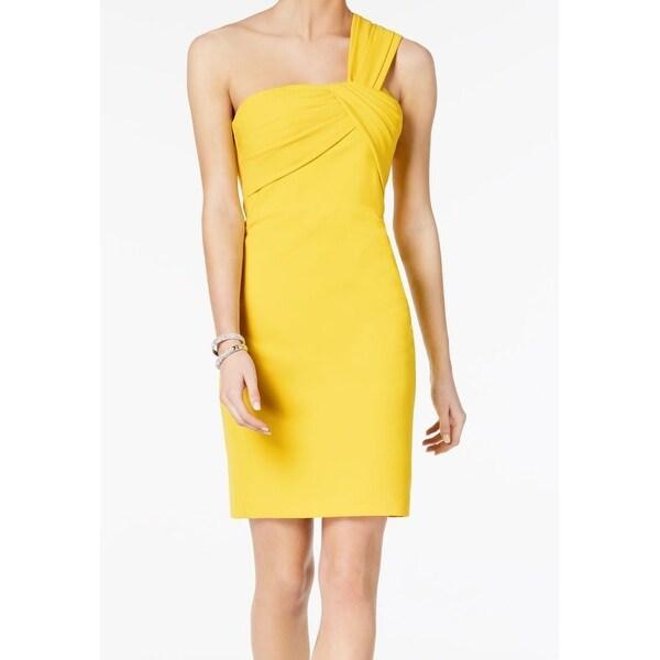 Vince Camuto Yellow Women Size 10 Pleat One Shoulder Sheath Dress