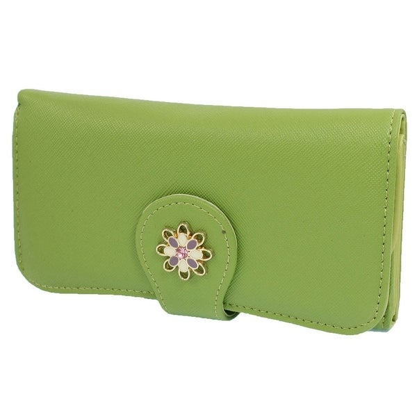 Unique Bargains Lady Woman Gift Lychee Print Folding Green Faux Leather Purse Holder Handbag