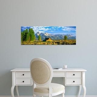 Easy Art Prints Panoramic Image 'Moulton Barn, Teton Range, Mormon Row, Grand Teton National Park, Wyoming' Canvas Art