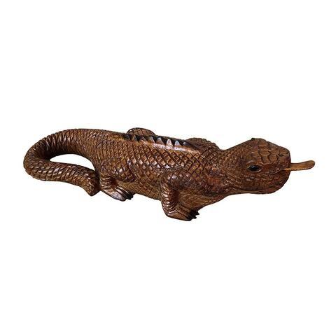 Offex Hand crafted Solid Teak/Mahogany Wooden Iguana Figurine Medium