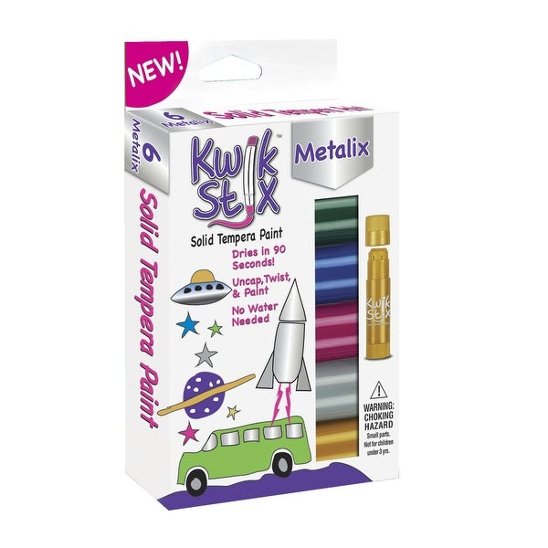 The Pencil Grip Kwik Stix Solid Tempera Paint, Metallic Colors, Set of 6