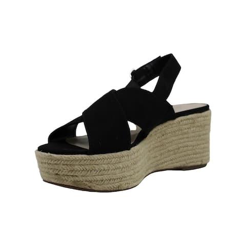 Bar III Womens bianka Fabric Open Toe Ankle Strap Wedge Pumps
