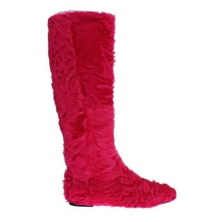 Dolce & Gabbana Pink Lamb Fur Leather Flat Boots - 38