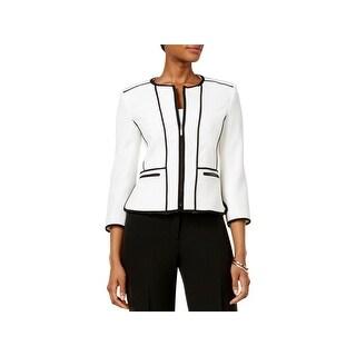 Kasper Womens Petites Collarless Blazer Textured Long Sleeves