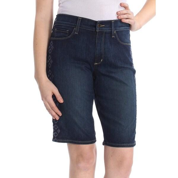 NYDJ Blue Women's Size 10 Embroidered Lift Tuck Denim Shorts