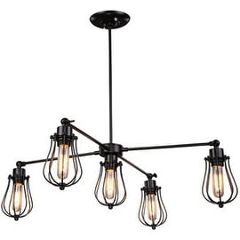 Black Wire Caged Industrial Chandelier Pendant Lamp Light