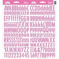Doodlebug Skinny Cardstock Alpha Stickers-Bubblegum