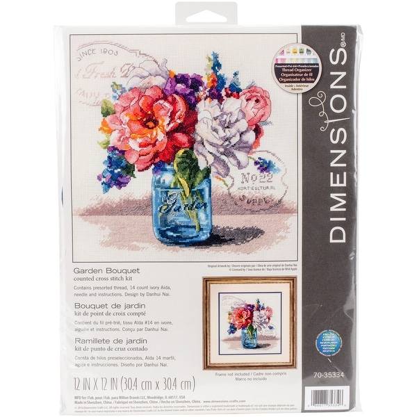 """Garden Bouquet Counted Cross Stitch Kit-12""""X12"""" 14 Count"""