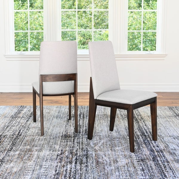 Abbyson Benny Upholstered Acacia Wood Dining Chairs (Set of 2). Opens flyout.