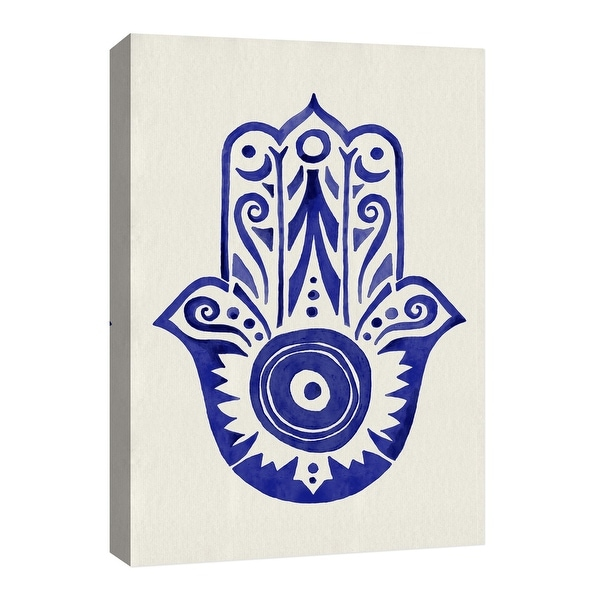 """PTM Images 9-126677 PTM Canvas Collection 8"""" x 10"""" - """"Blue Palm"""" Giclee Hamsa Art Print on Canvas"""