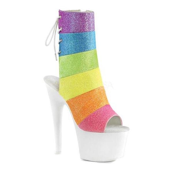 cea3be13d3 Pleaser Women's Adore 1018RBG Open Toe Bootie Rainbow Multi Glitter/Neon  White Synthetic