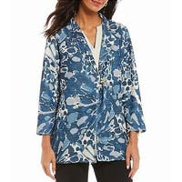 Multiples Blue Womens Size 3X Plus Printed Button Front Jacket