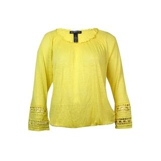 INC International Concepts Women's Bead Crotchet Sleeve Blouse