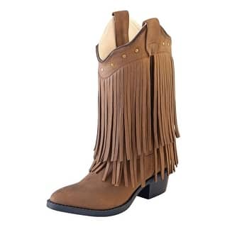 Old West Cowboy Boots Girls Kids Leather Fringe Chocolate CCY8125|https://ak1.ostkcdn.com/images/products/is/images/direct/769acfafea7a543dc1e13725da51248bc773b9e3/Old-West-Cowboy-Boots-Girls-Kids-Leather-Fringe-Chocolate-CCY8125.jpg?impolicy=medium