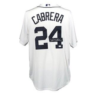 Miguel Cabrera Signed Detroit Tigers Majestic Cool Base White Baseball Jersey JSA