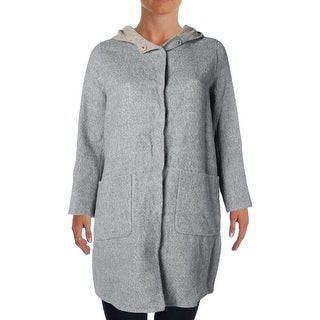 Eileen Fisher Womens Plus Wool Blend Hooded Coat