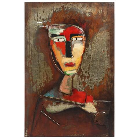 """""""Homme 3"""" Mixed Media Iron Hand Painted Dimensional Wall Art"""