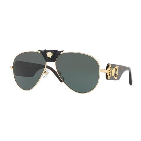 Versace Aviator Ve2150Q 100271 Mens Gold Frame Grey Lens Sunglasses