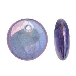 Czech Glass Top-Drilled Flat Lentil Drops 9mm - Luminescent Amethyst (1 Str)