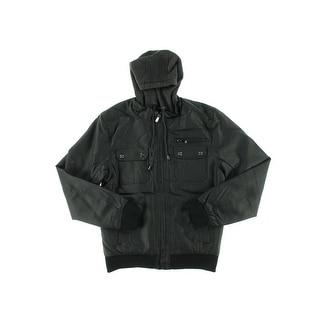 Steve Madden Mens Jacket Faux Leather Hooded