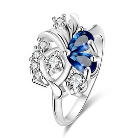 Duo-Mock Sapphire Floral Crystal Petite Ring
