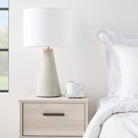 "Nourison 22"" Light Grey Cement Scandinavian Table Lamp"