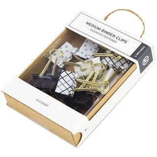 Assorted Prints; 12/Pkg - Medium Binder Clips Black & White With Gold Prongs