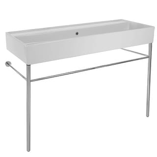 "Nameeks 8031/R-120B-CON  Scarabeo 47-1/5"" Ceramic Trough Style Bathroom Sink For Console Installation"